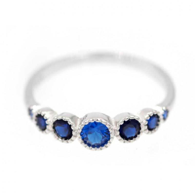 ASL-061 Anello con Cristalli Blu