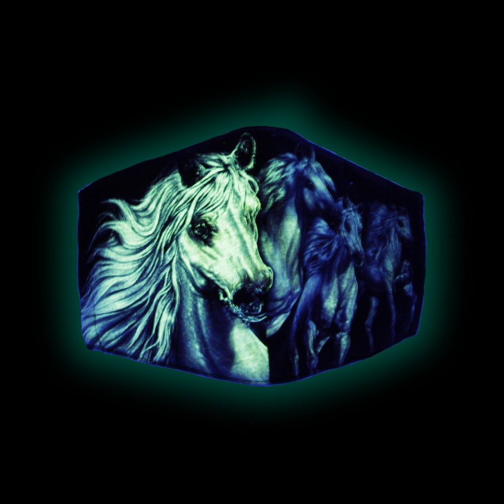 Rock Chang  Maschera con Stampa Cavallo illuminosa al buio