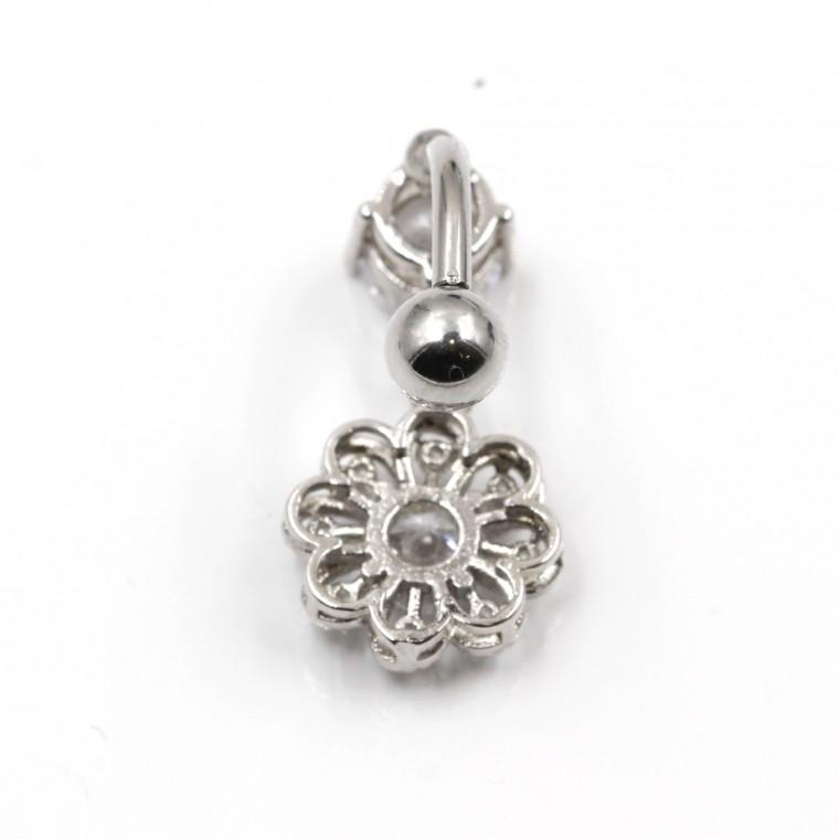 Piercing  Ombelico Fiore di Cirstallo pendente