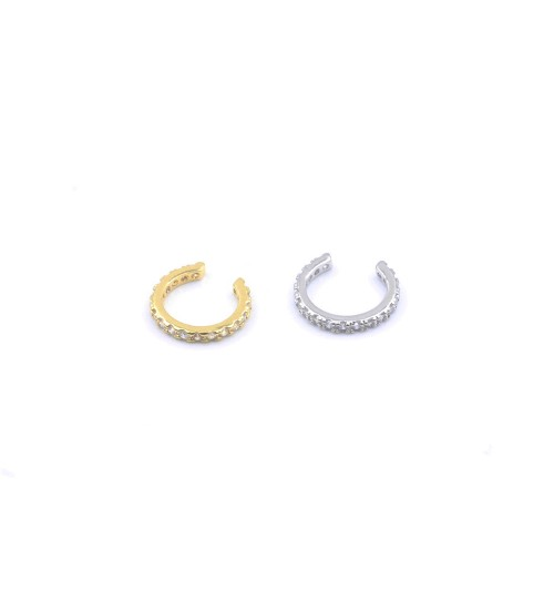 Orecchino Polsino senza piercing, Pave single in Elica/ Cartilagine con  cristallo