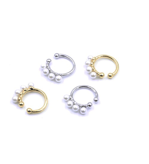 Orecchino Polsino senza piercing, Pave single in Elica/ Cartilagine con perle