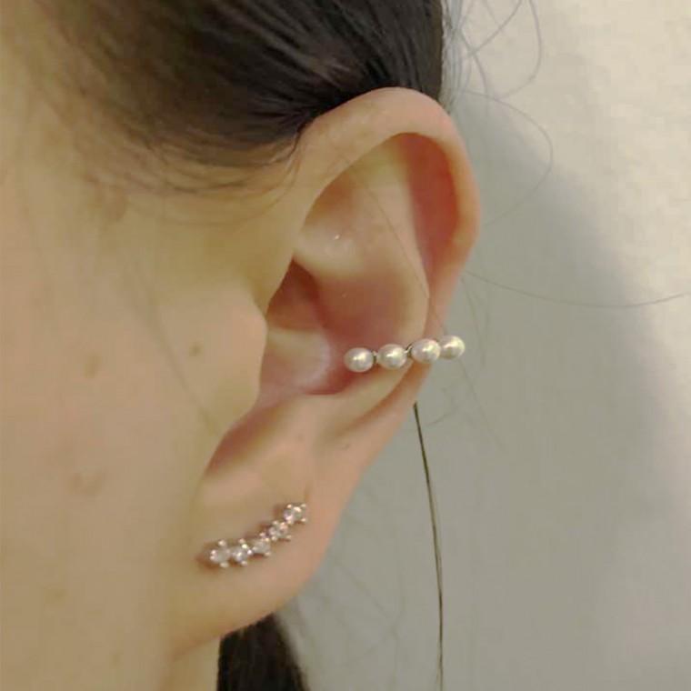 Orecchino cuff polsino con perle senza piercing