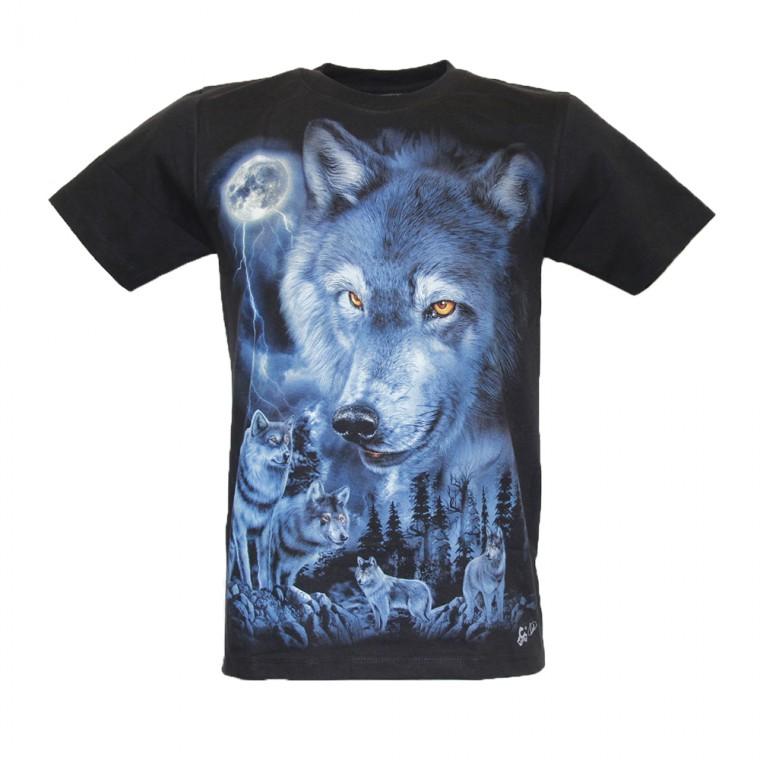 Maglietta Lupi con Luna Piena Luminosa al Buio