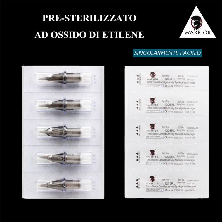 WARRIOR Nuova Cartucce Per Tatuaggio (Ø 0.25mm Round Liner)