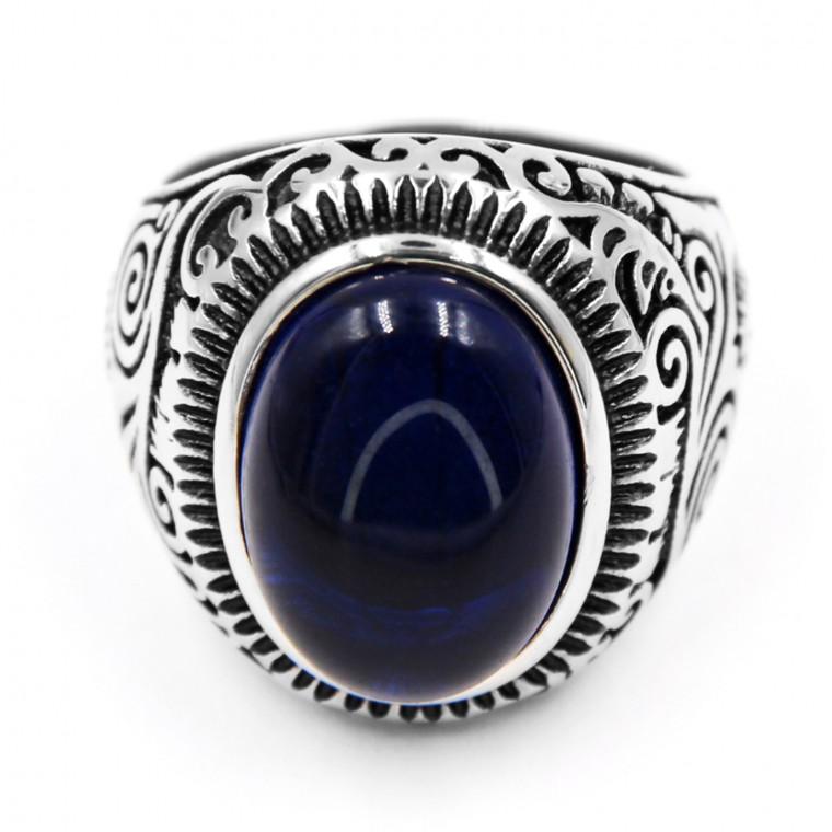 Anello in Acciaio con Gemma Blu di Forma Ovale