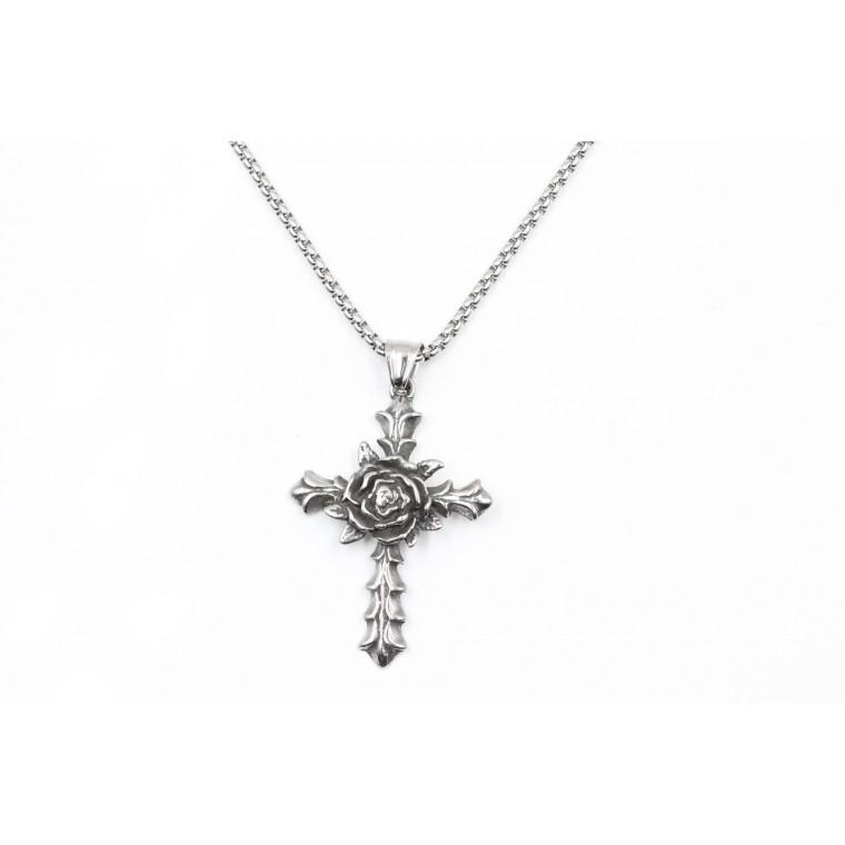 Collana a forma di Croce e  Fiore vintage