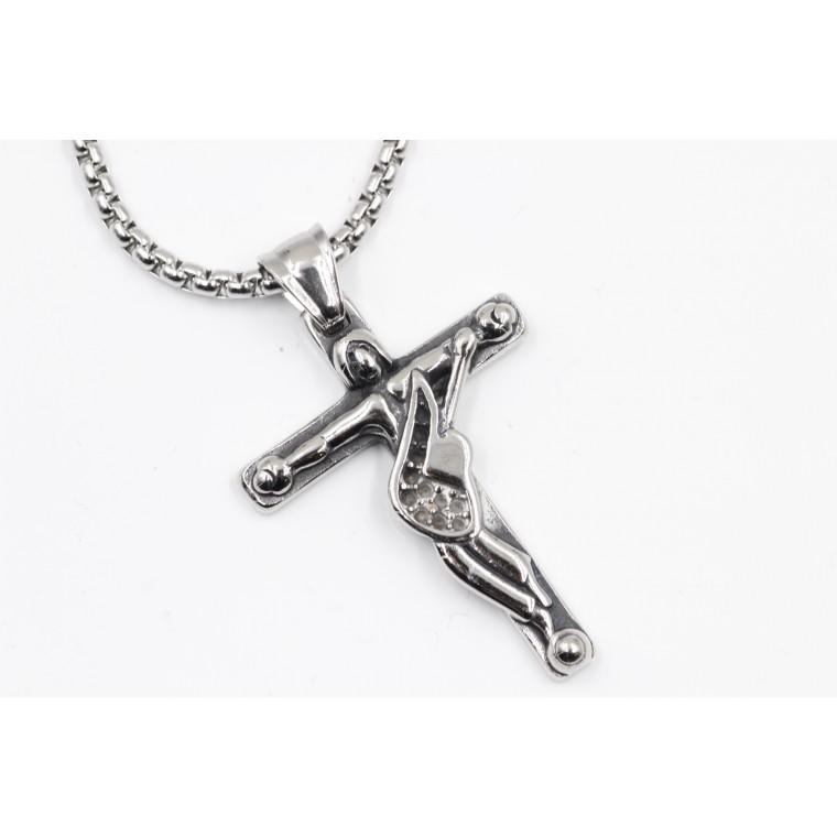 Collana con Ciondolo Croce Gesù Crocifisso