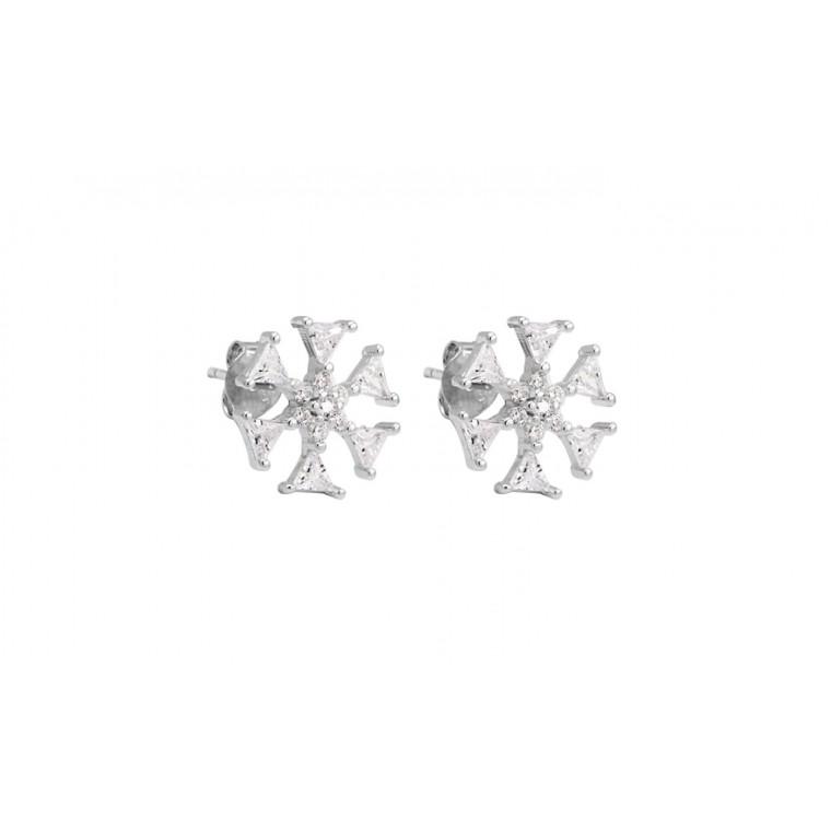 POS-008 Orecchini a fiocco di neve in Argento 925